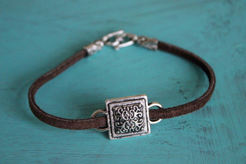 Leather Charm Bracelet - Square