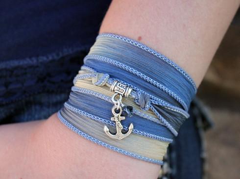 Anchor Ribbon Wrap Bracelet
