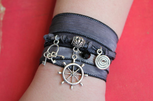 Pirate - Silk Ribbon Bracelet by Ever Designs Jewelry