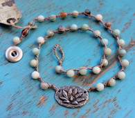 Lotus Flower Crocheted Necklace