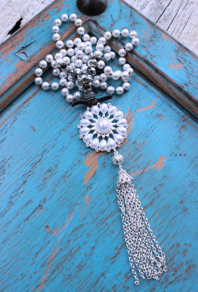 White Pearl Long Knotted Tassel Necklace