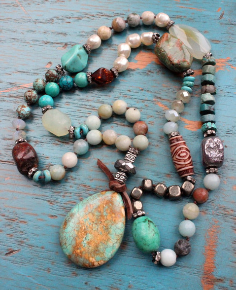 Mixed Gemstone Luxury Knotted Necklace