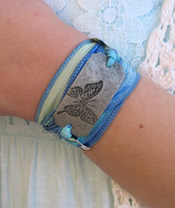Butterfly - Silk Ribbon Wrap Bracelet