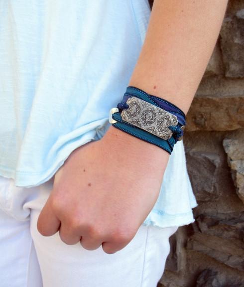 Baroque Motif Silk Ribbon Wrap Bracelet