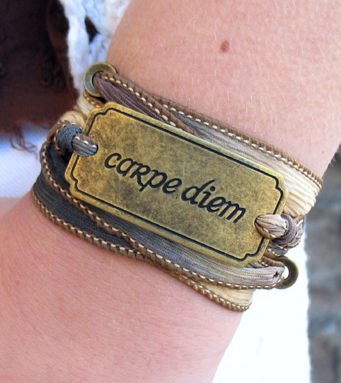Carpe Diem Ribbon Wrap Bracelet