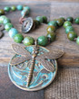 Green Turquoise Knotted Dragonfly Necklace