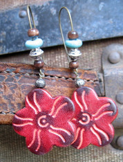 Boho Flower Leather Earrings