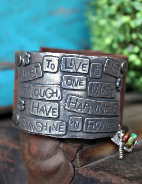 Just to live is not enough Leather Cuff