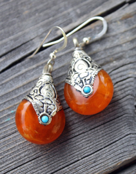 Orange Drop Bohemian Earrings