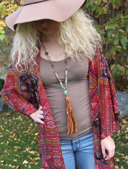 Sundance Leather Tassel Necklace