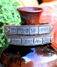 You Make Me Happy When Skies Are Grey Leather Wrap Bracelet