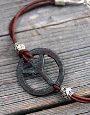 Peace Sign Boho Leather Bracelet