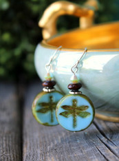 Blue Dragonfly Earrings