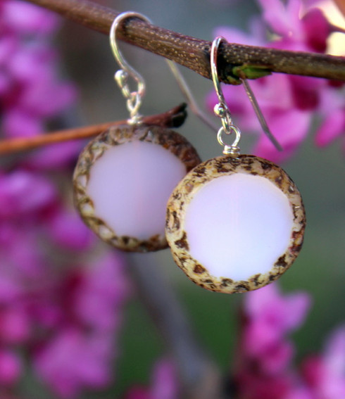 Raindrop Earrings - Pink Czech Glass