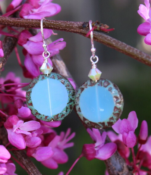 Raindrop Earrings - Lagoon Czech Glass