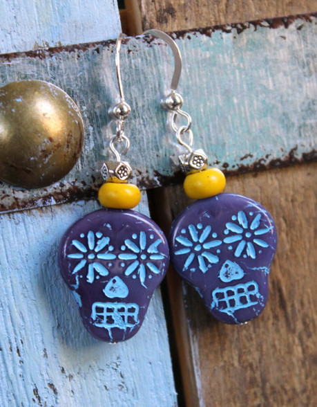 Purple Sugar Skull Earrings
