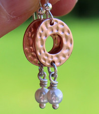 Dimpled Copper Pearl Earrings
