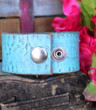 Turquoise Mandala Recycled Leather Cuff
