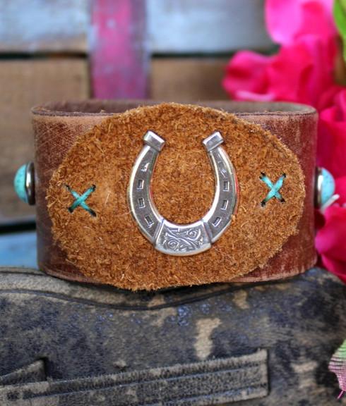 Horseshoe Recycled Leather Cuff