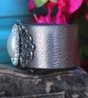 Dressy Pearl and Rhinestone Recycled Leather Cuff