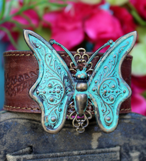 Turquoise Verdigris Butterfly Recycled Leather Cuff
