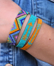 Hand Loomed Beaded Bracelet, colorful with zig zag chevron pattern bohemian boho chic handwoven artisan jewelry
