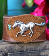 Galloping Horse Rugged Recycled Brown Leather Bracelet Cuff Cowgirl