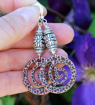 "Textured Copper Spiral Earrings, antique copper and silver, mixed metals, hypoallergenic ""Adeline"""