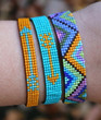 Hand Loomed Turquoise Yellow Beaded Bracelet Skinny Arrow