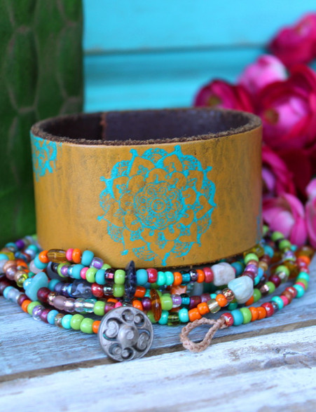 Yellow and Turquoise Mandala Hand Painted Recycled Leather Cuff