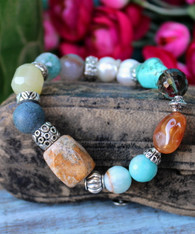 Mixed Gemstone Stretch Bracelet - Lily