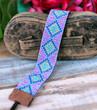 Hand Loomed Beaded Bracelet - Blue Purple Diamond Pattern - Sasha