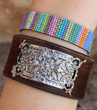 Recycled Brown Leather Cuff Bracelet With Rectangular Silver Plaque Bohemian Boho Chic