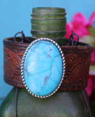 Turquoise Concho Recycled Leather Cuff