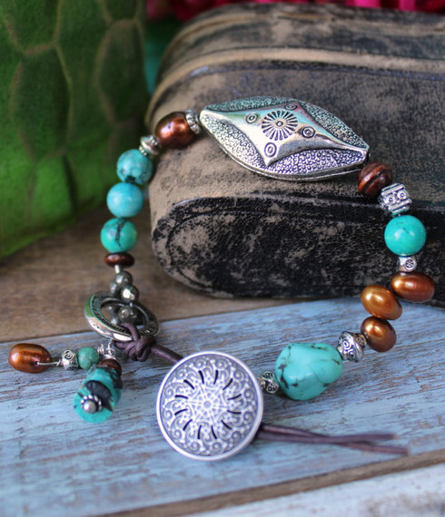 Turquoise and brown pearl beaded bohemian bracelet