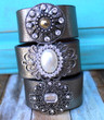 Mirror on the Wall Recycled Leather Cuff, Dressy Boho Chic Silver Bracelet with rhinestone brooch