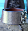 Silver Recycled Leather Cuff Rhinestone Bling Dressy Boho Chic Bracelet Cleopatra