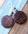 Round Brown Leather Earrings