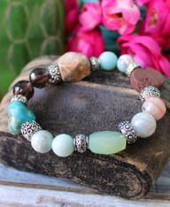 Mixed Gemstone Stretch Bracelet Chunky