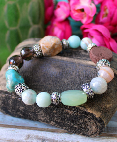 Mixed Gemstone Stretch Bracelet Chunky