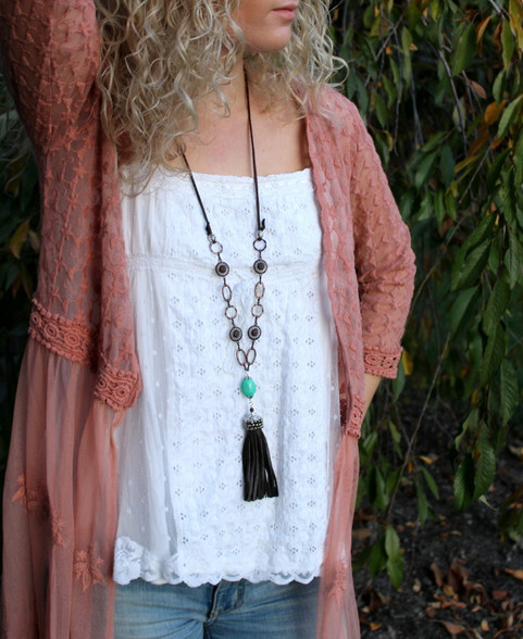 "Long Leather Tassel Boho Necklace ""Cassidy"" Turquoise and Brown"