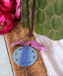 Esmeralda Gypsy Necklace Blue Mauve Brown Leather