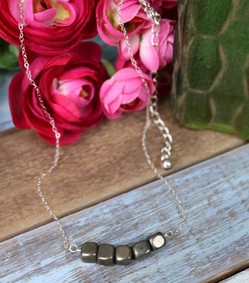 Pyrite Cube Minimalist Necklace