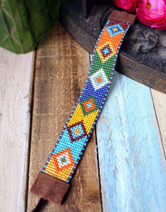 Colorful Aztec Motif Hand Loomed Beaded Bracelet