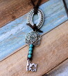 Turquoise Key Necklace Handmade Bohemian Jewelry by Ever Designs