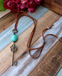 Brass Key Turquoise Necklace Bohemian Jewelry by Ever Designs