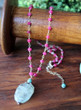 Arwen Ruby and Aquamarine Wire-Wrapped Chain Necklace
