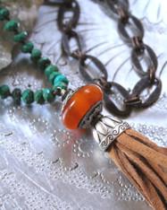 Esmeralda Leather Tassel  Bohemian Necklace