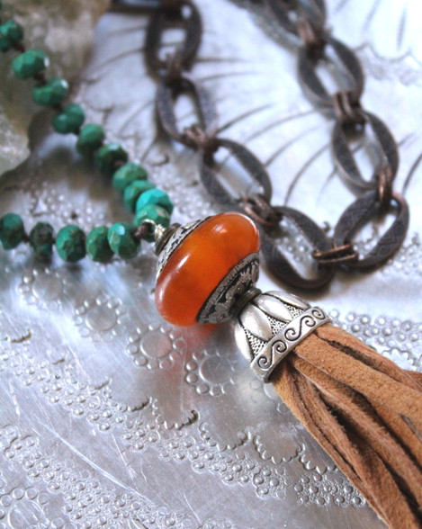 Esmeralda Leather Tassel  Bohemian Necklace