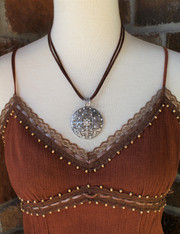 Ellery Round Pendant Rhinestone Necklace